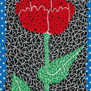 草間彌生の花の絵画の作品を買取いたしました。